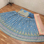Bluish Grey Silk Embroidered New Design Of Choli For Ghagra Choli
