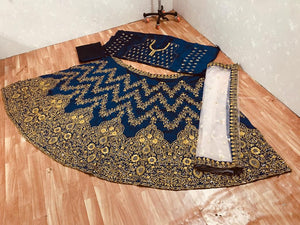 Sara Ali Navy Blue Silk Embroidered Bollywood Replica Lehengas