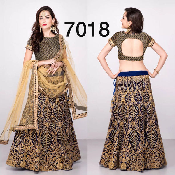 Dark Blue Silk Velvet Online Shopping For Designer Lehengas