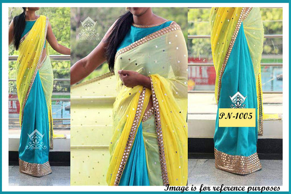 Yellow And Blue Designer Bollywood Sarees Online ,Indian Dresses - 1