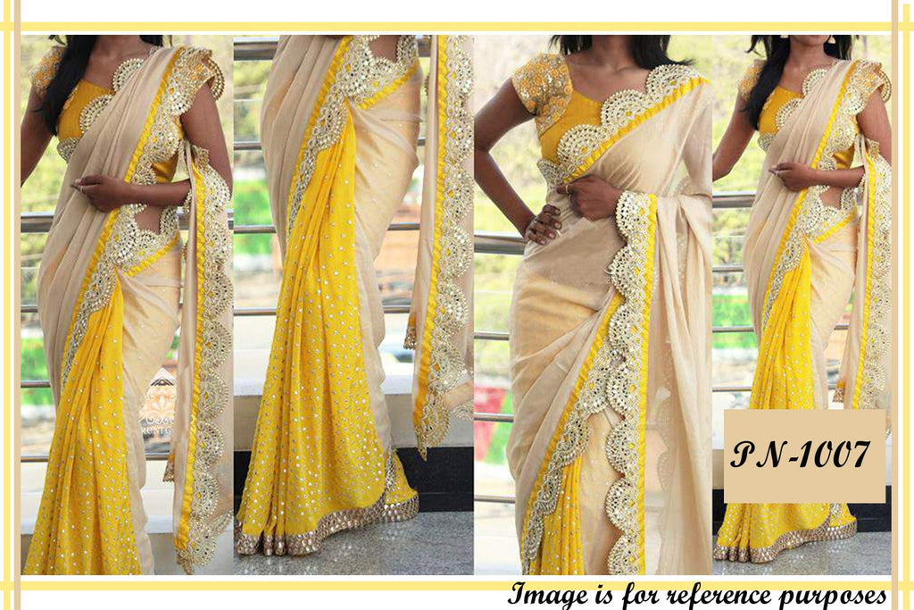 Cream And Yellow Bollywood Style Sarees ,Indian Dresses - 1