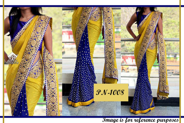 Glam Yellow Blue Georgette Designer Bollywood Saree ,Indian Dresses - 1