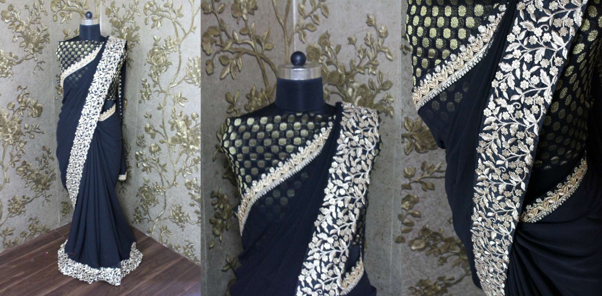 Gold Embroidered Black Georgette Bollywood Saree ,Indian Dresses - 2
