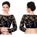 Navy Blue Raw Silk Saree Blouse  For Women Online