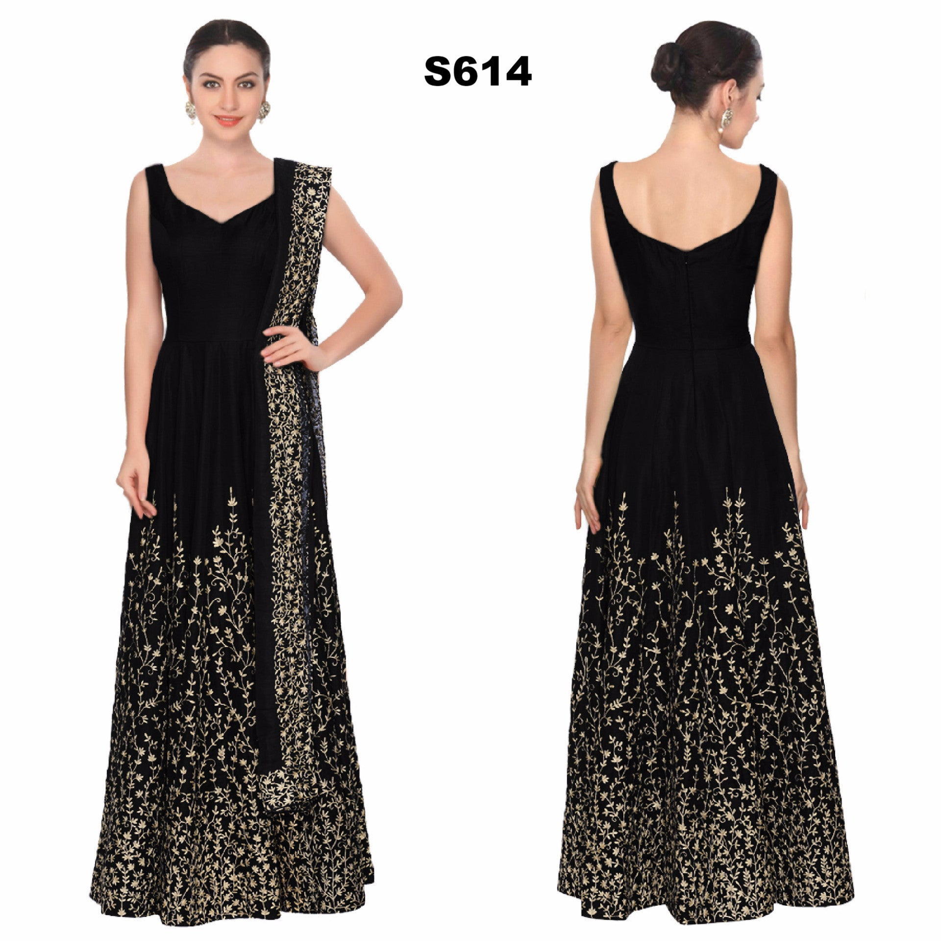 Black & Gold Embroidered Bollywood Anarkali ,Indian Dresses - 1