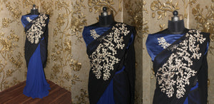 Modern Blue And Black Embroidered Bollywood Designer Sarees ,Indian Dresses - 2
