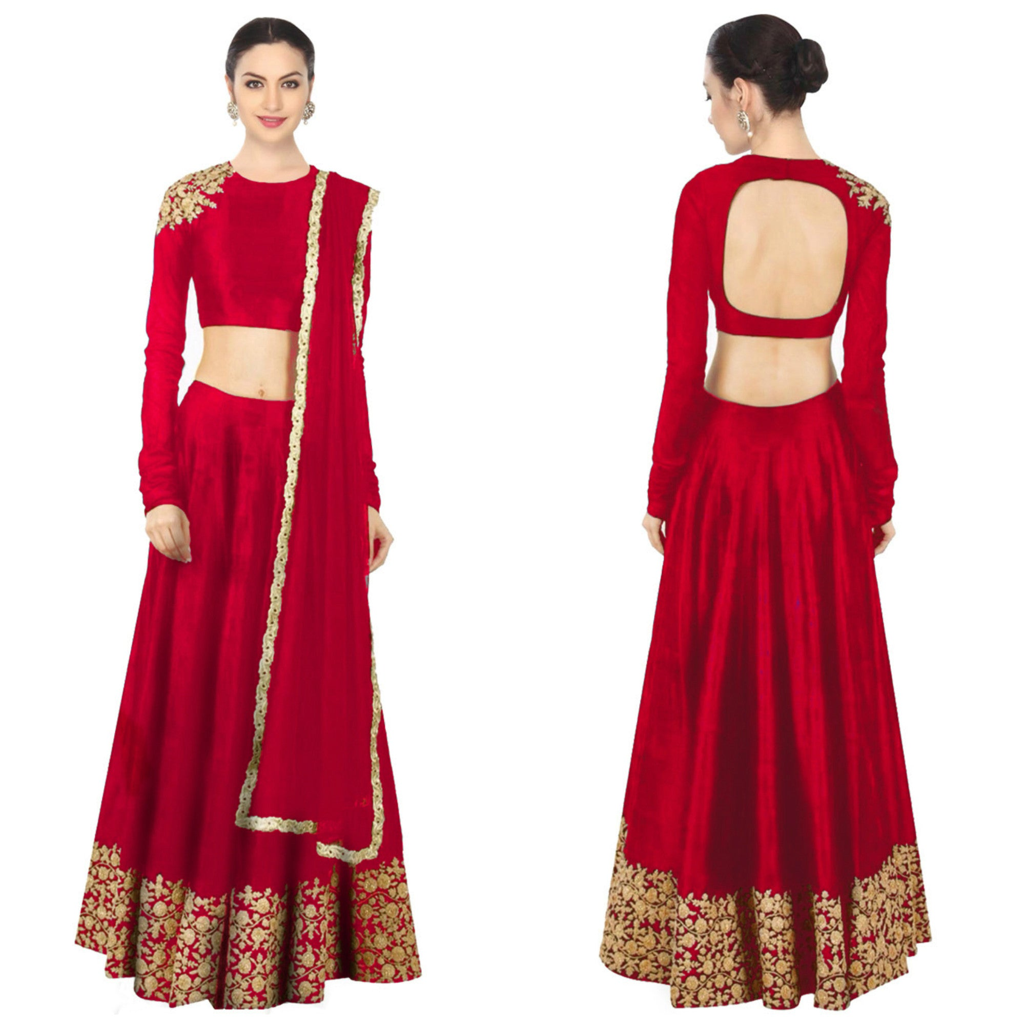 Classy Red Silk Bollywood Designer Wedding Lehngas ,Indian Dresses - 1