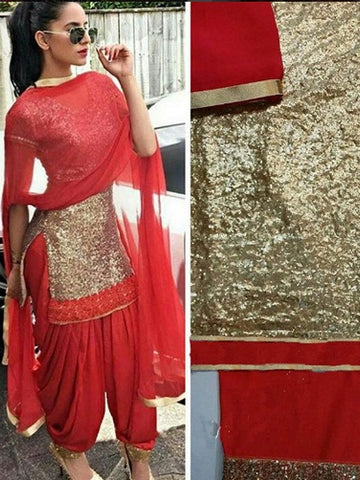 Contrast Gold  And Red Patiala Style Salwar Suits Online
