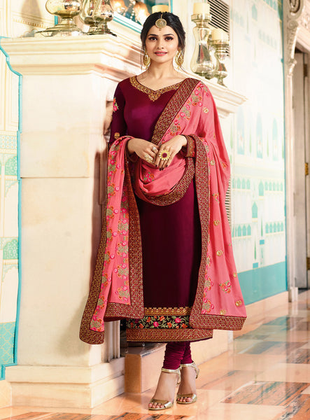 Prachi Desai Purple Silk Party Wear Churidar Online Shopping
