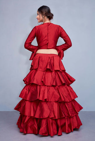 Red Taffeta Silk Frill Layered Lehenga Choli Indian Dresses Online