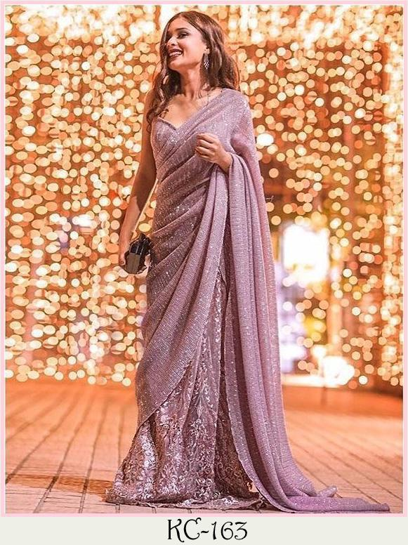 Dusty Rose Georgette Sequins Gorgeous Sarees Online Shopping