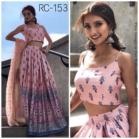 Peach Satin Silk Digital Print Latest Party Lehenga Choli Online