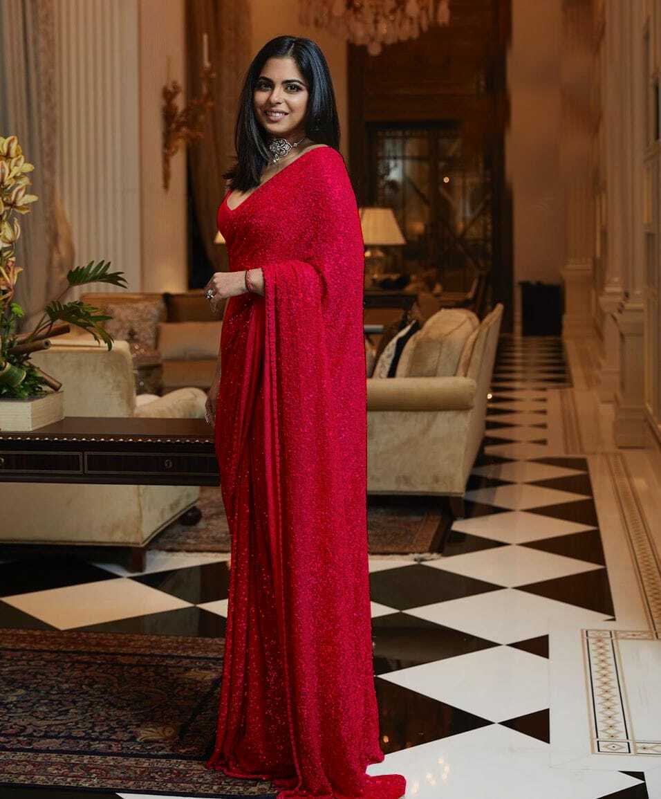 Red Sequins Saree in Georgette with Plain Silk Blouse