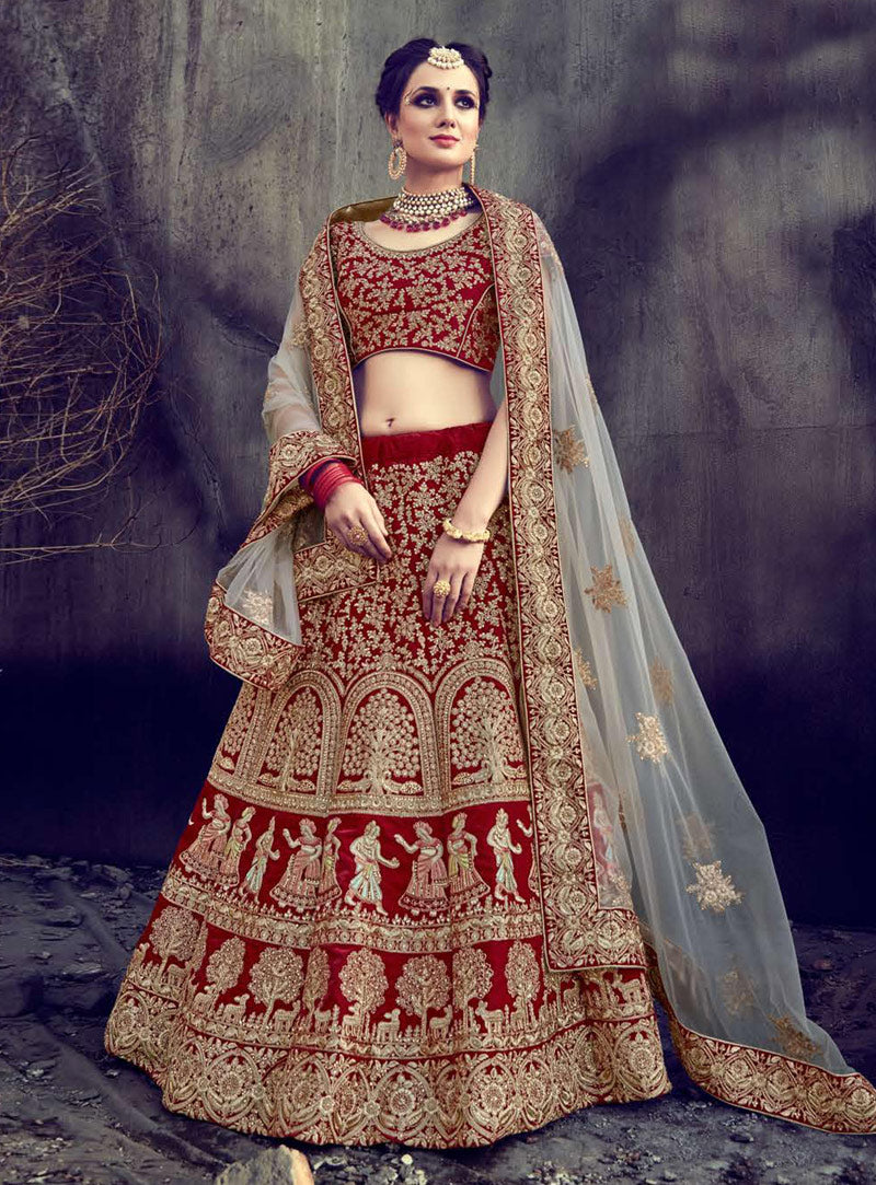 Red Velvet Bridal Wedding Lehengas Collection