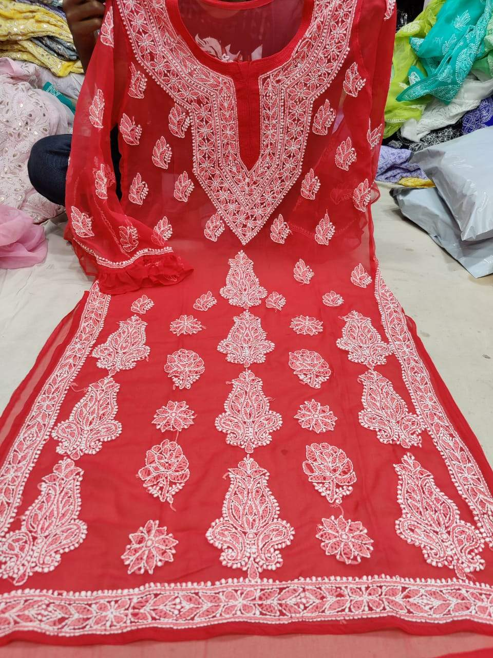 Red Full Sleeve Designer Indian Kurti Online with Inner