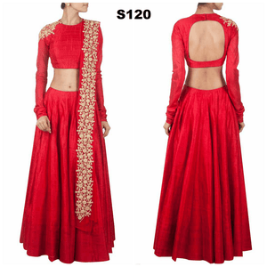 Tomato Red Raw Silk Bollywood Lehenga Choli Online India ,Indian Dresses - 1