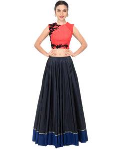 Peach Pink Embroidered Crop Top Party Lehenga Styles ,Indian Dresses - 1