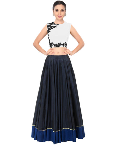 White And Blue Crop Top Buy Designer Lehenga Online ,Indian Dresses - 1
