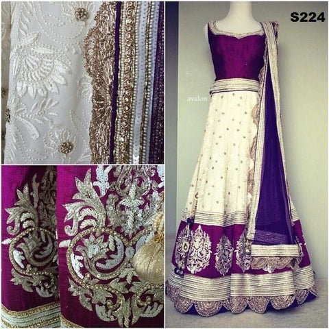 Purple & Cream Bollywood Latest Chaniya Choli ,Indian Dresses - 2
