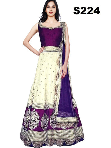 Purple & Cream Bollywood Latest Chaniya Choli ,Indian Dresses - 1
