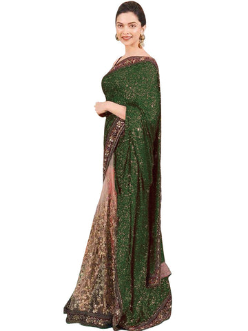 Moss Green Deepika Padukone Designer Sarees Bollywood ,Indian Dresses - 1