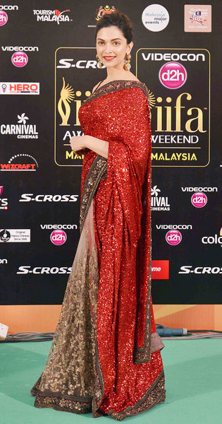 Deepika Padukone Red Bollywood Designer Sarees Online ,Indian Dresses - 1