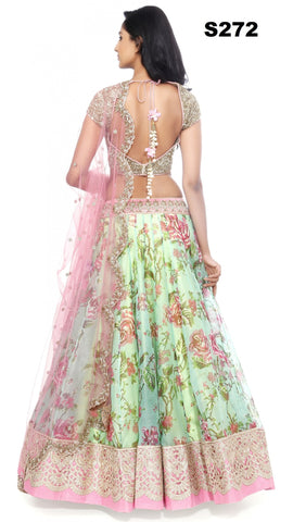 Green Pink Raw Silk Floral Printed Bollywood Lehenga Online ,Indian Dresses - 2