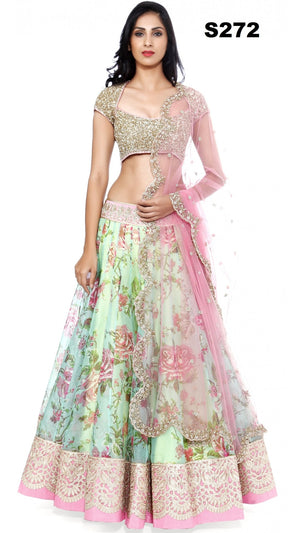 Green Pink Raw Silk Floral Printed Bollywood Lehenga Online ,Indian Dresses - 3