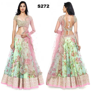 Green Pink Raw Silk Floral Printed Bollywood Lehenga Online ,Indian Dresses - 1