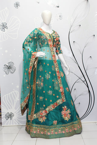 Green Silk Embroidery Latest Design Of Wedding Lehengas