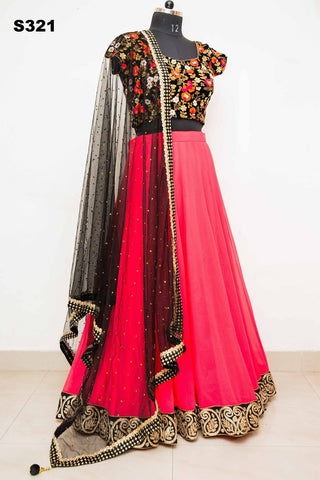 Pink Georgette Bollywood Lehenga For Sale ,Indian Dresses - 2