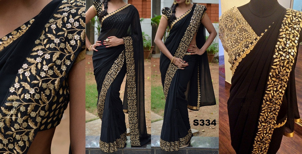 Gold Embroidered Black Georgette Bollywood Saree ,Indian Dresses - 1