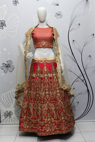 Cherry Red Silk Embroidery Latest Wedding Lehenga Online Buy
