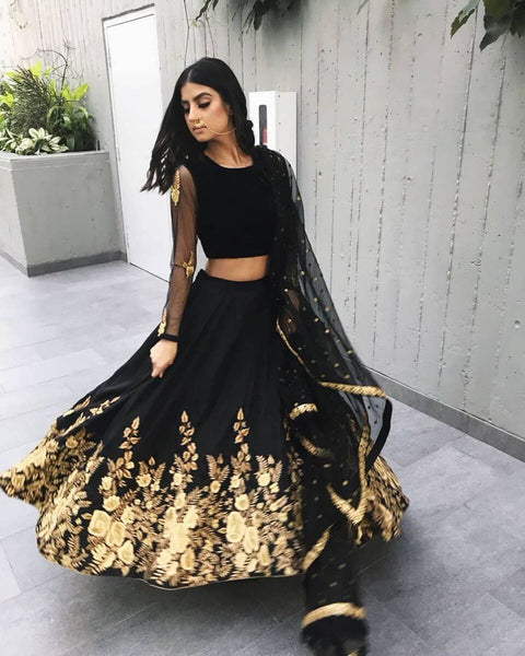 Jade Black Taffeta Silk Online Shopping For Ghagra Choli