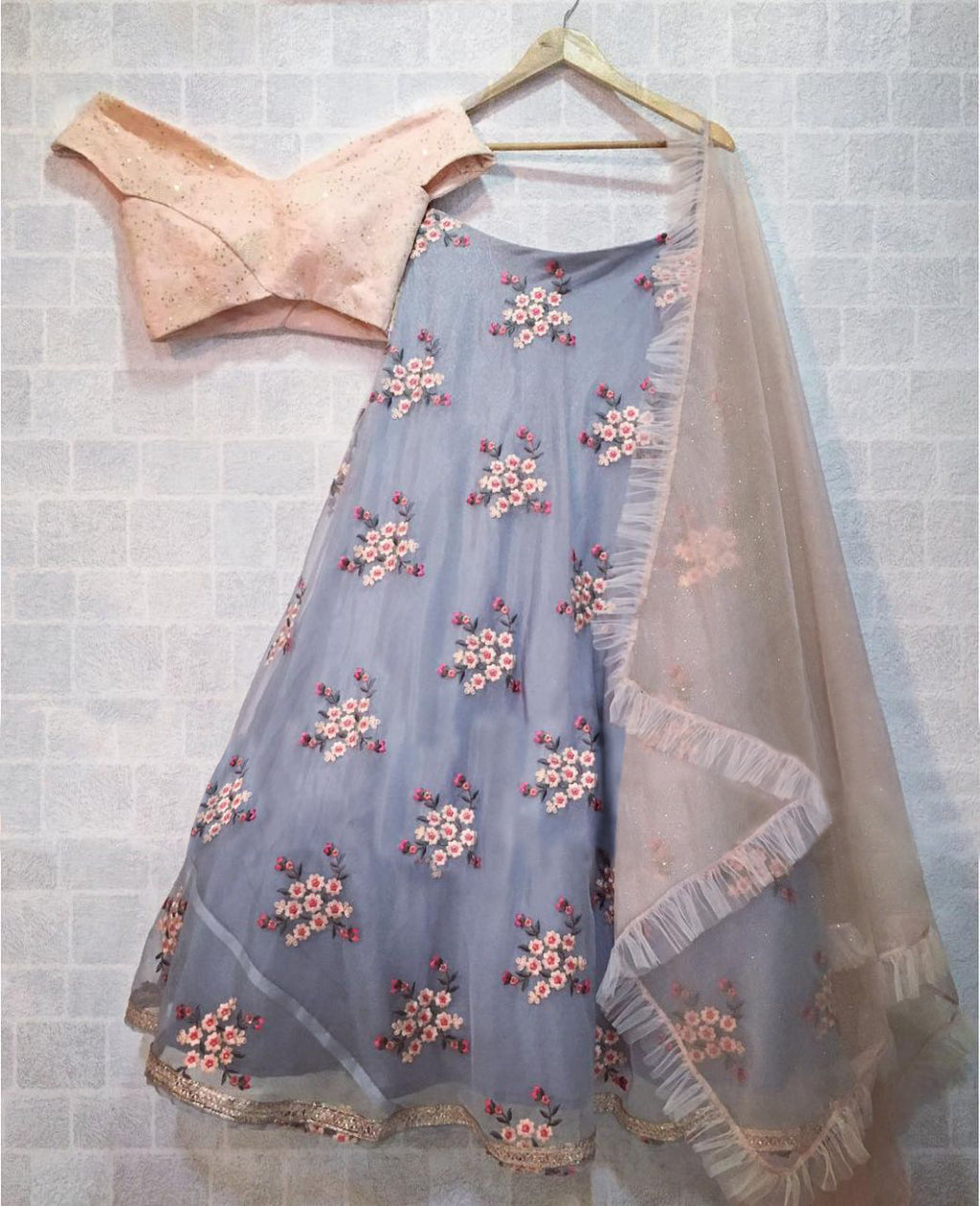 Gray Organza With Peach Off-Shoulder Blouse Party Lehengas Online India