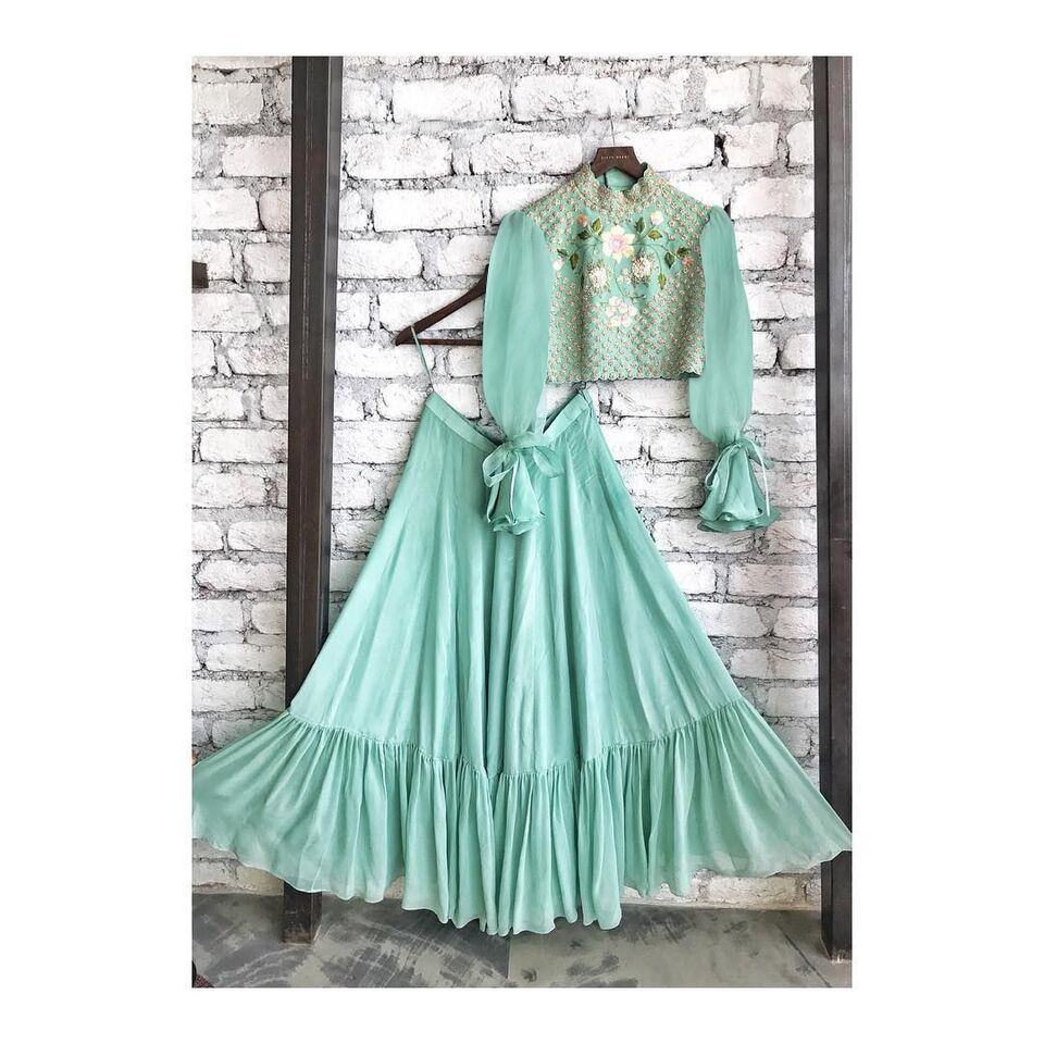 Sky Blue Crepe Crop Top Indian Lehenga Online