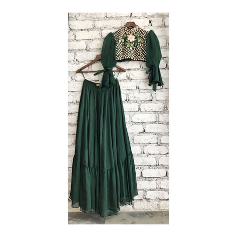 Dark Green Crepe Crop Top New Indian Dress Ghagra Choli