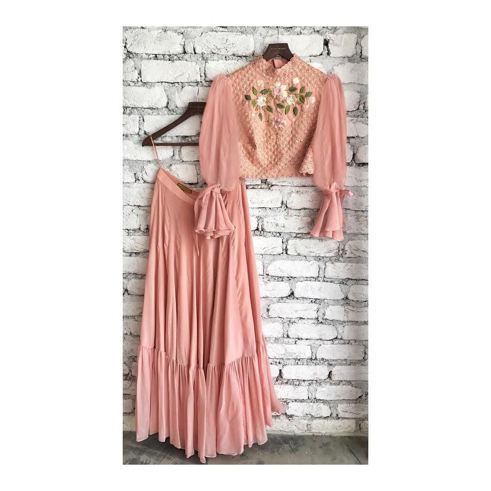 Peach Crop Top Modern Lengha Indian Dresses Online Shop