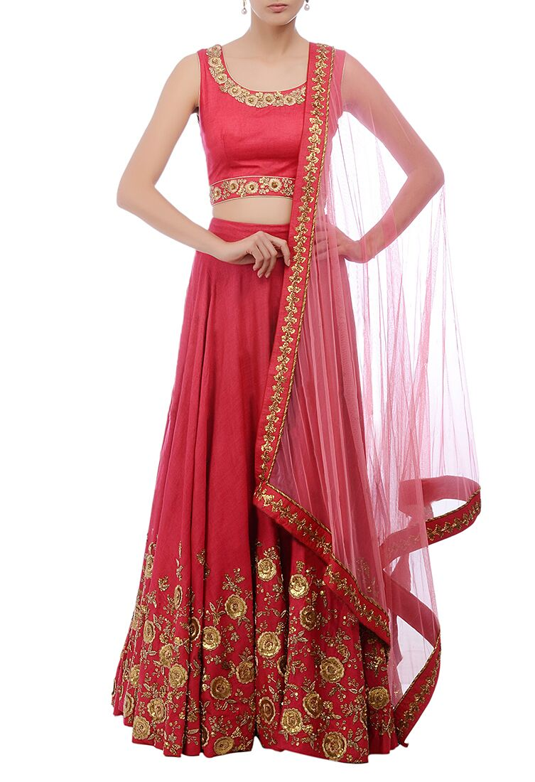 Coral Red Floral Embroidered Lehenga Online Shopping India