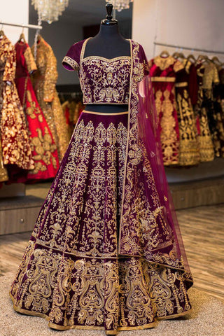 Wine Color Zari Work Velvet Wedding Lehenga Designs