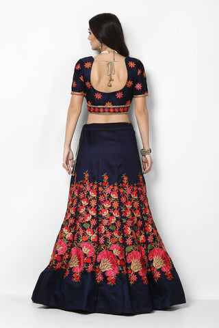 Navy Blue Floral Embroidered Buy Lengha Choli Online