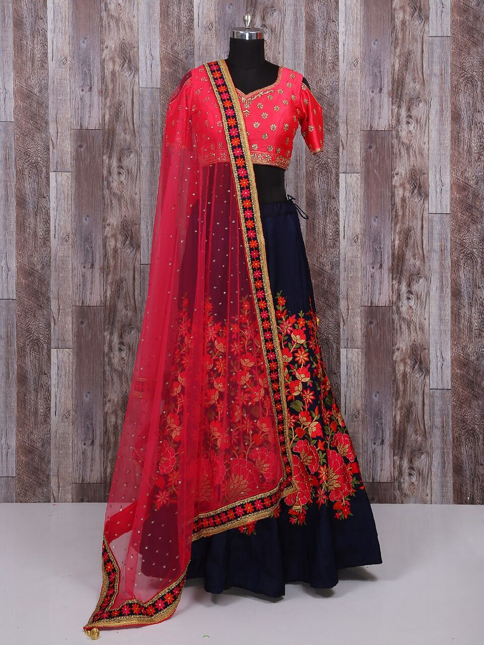 Navy Blue Floral Embroidered Indian Chaniya Choli Designs