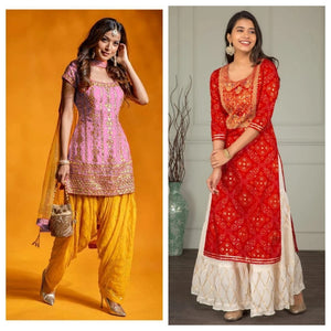 Red Bandhej and Pink Silk Embroidered kurtis Suit Combos