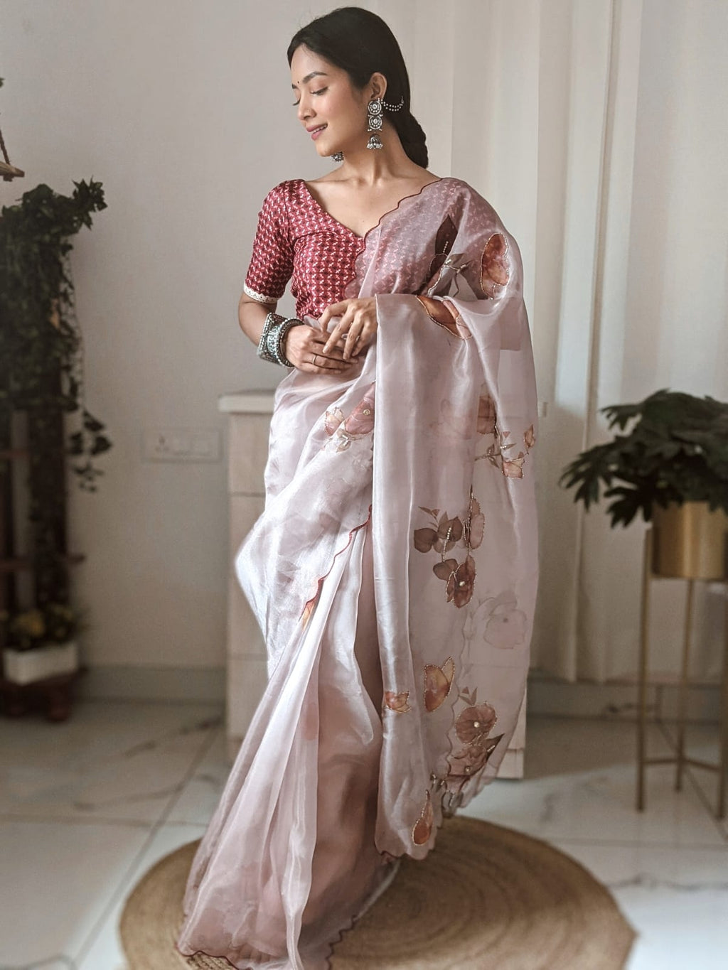 Light Brown Organza Saree With Digital Print Work Online Shopping
