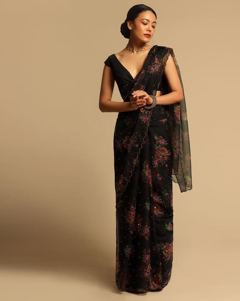 Black Organza Silk Saree With Floral Hand Printed Work Online Shopping