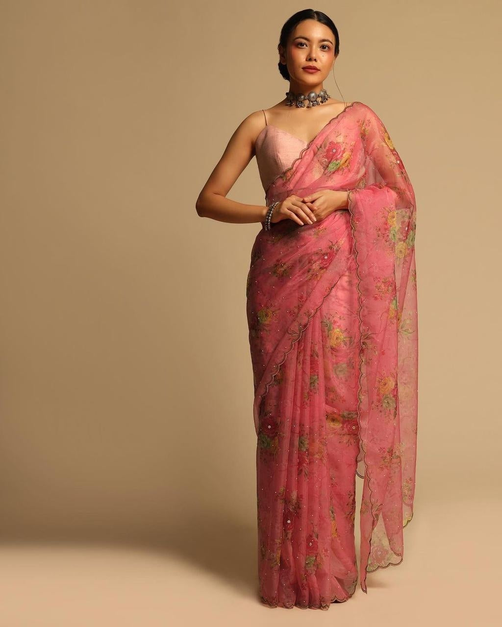 Pink Organza Silk Saree With Floral Hand Printed Work Online Shopping