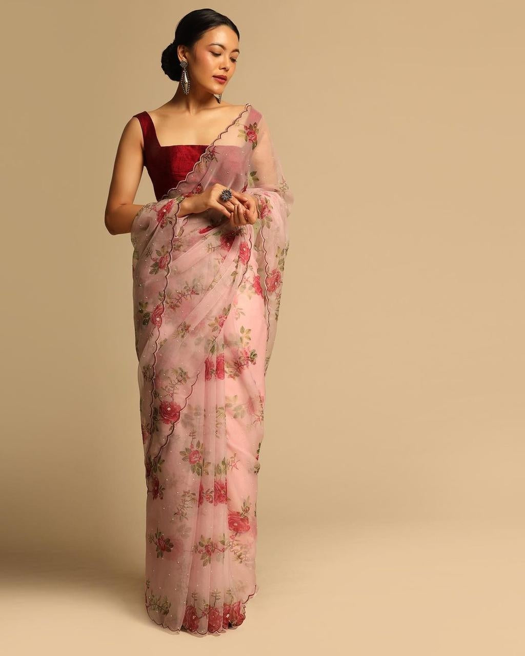 Peach Organza Silk Saree With Floral Hand Printed Work Online Shopping