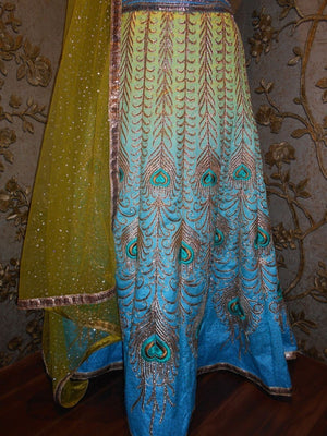Blue And Green Shaded Artwork Designer Lengha Choli ,Indian Dresses - 3