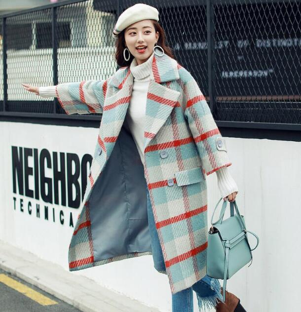 SexeMara  Autumn and winter loose lapel plaid long-sleeved coat free shipping