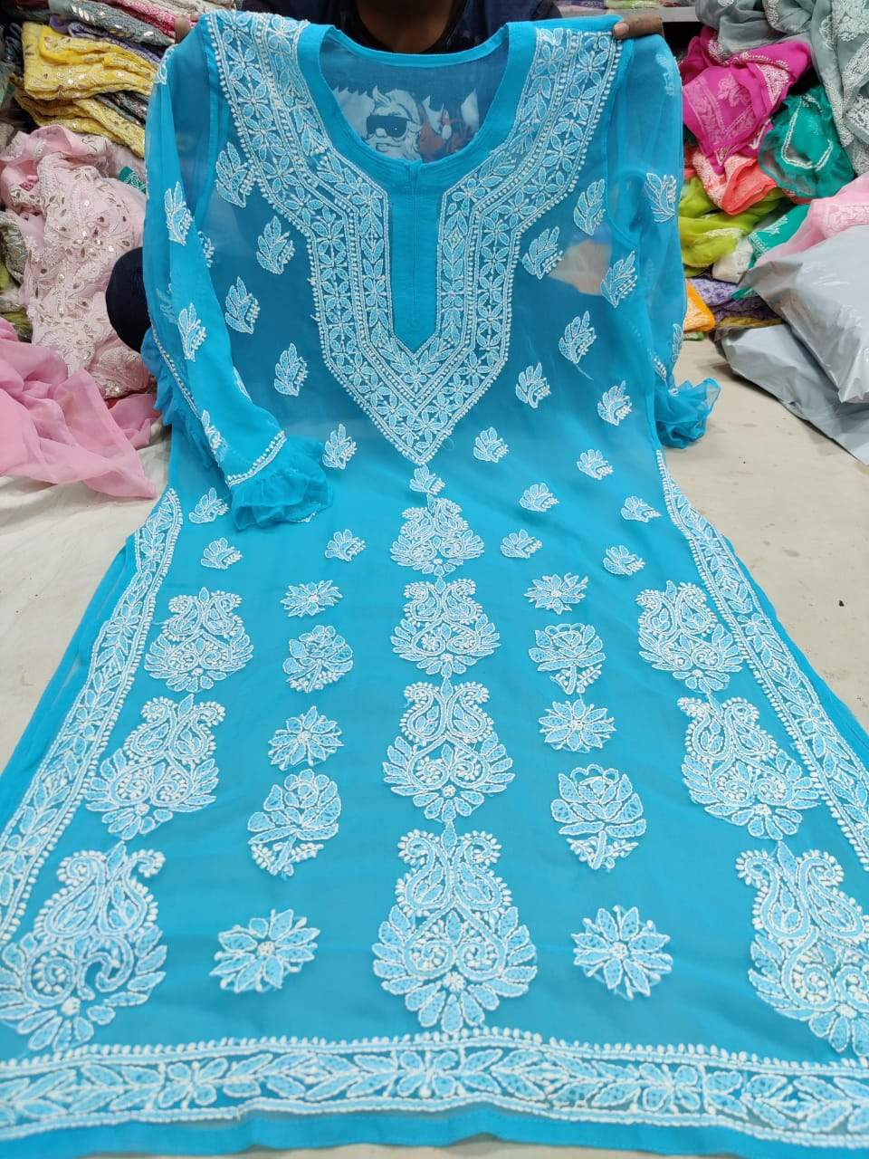 Sky Blue Full Sleeve Indian Kurti Online with Inner
